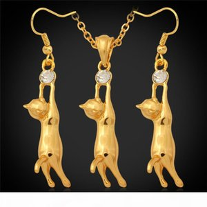 Lovely 18K Gold Plated Cute Cat Pendant Necklace Earrings Rhinestone Fashion Jewelry Set Gift for Kid Girls
