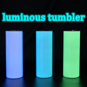NEW!20oz Sublimation luminous-paint straight tumbler glowing in the dark stainless steel water bottles coffee mugs double insulated cup A13