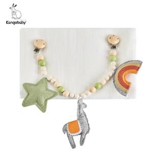 Kangobaby #my yumuşak yaşam # sevimli bebek pram oyuncak lotus ahşap teether muslin kundaklı battaniye ile bebek bilezik 201123