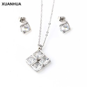 XUANHUA Wholesale Stainless Steel Jewelry Sets Crystal Necklace And Earrings Fashion Wedding Jewelery Sets For Women Accessories