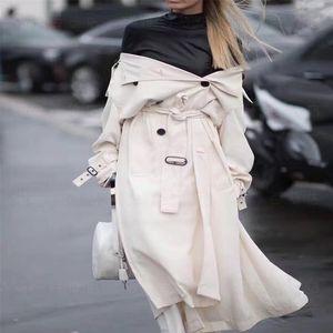 UK Brand new Fashion Runway Designer Simple Classic Maxi Long Trench coat Chic Female windbreaker White Black Khaki 201006