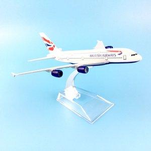 British Airlines 16 см A380 British Airways Металлический сплав Модель самолета Модель Модель Игрушки Самолет на день рождения подарок Y200428