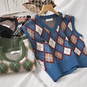 Preppy Style Strick Weste Frauen Gestrickte Argy Sweater Weste Sleeveless Plaid Weste Herbst Kurze Outwear CHALECOS Para Mujer 201102
