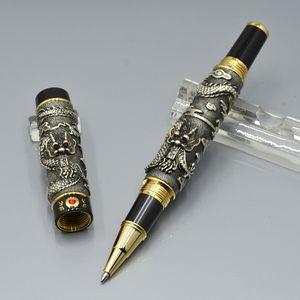 جودة عالية جينهاو ماركة الذهبي الفضة رمادي مزدوج التنين النقش الرولرال القلم مدرسة فاخرة مكتب اللوازم الكتابة بطلاقة هدية الأقلام