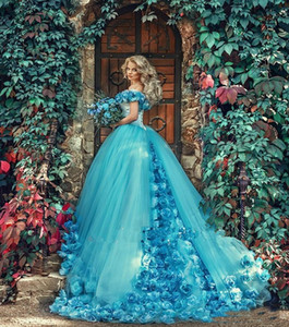 Off Shoulder Cinderella Quinceanera Dresses With Handmade Flowers Applique Girls Vintage Princess Sweet 15 16 Dress Brithday Prom Party Gown