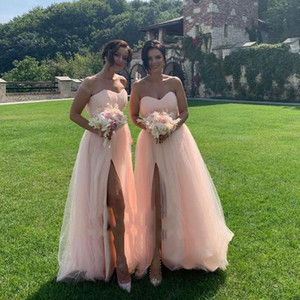 Pink Country Bridesmaids Dresses A Line High Split Cheap Beach African Wedding Guest Gowns Maid Of Honors Dresses For Women L183