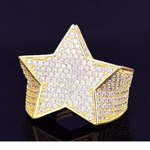 New Men's Star Ring 18K Copper Charm Gold Silver Color Full Zircon RING Fashion Hip Hop Rock Jewelry