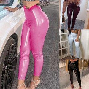Yoga Outfits Mulheres Pu Couro Legging Calças Skinny Elastic Cintura Alta Lady Slim Fitness Ankle Gym Sexy Leggins