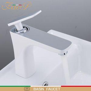 FAOP Waschtischarmaturen Weiß Bad Wasserhahn Mischbatterie Spüle Einhebelmischer Bad Wasserhahn Wasserfall Armaturen tapware