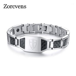Modyle Carbon Fiber Magnetic Bracelet 남성 기사용 Templar 방패 크로스 스테인레스 스틸 바이오 에너지 치료 남성 Pulseira1