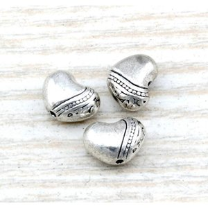 Mic 200pcs Antique Silver Zinc Alloy Heart Spacer Beads 9x jllgEK yummy_shop
