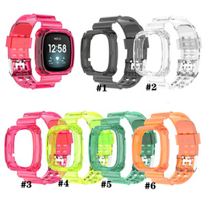 Siames Clear Band Case For Fitbit Versa 3 Transparent Bracelet For Fitbit Sense Versa 3 Strap Replacement Plastic Loop Watchband Accessories