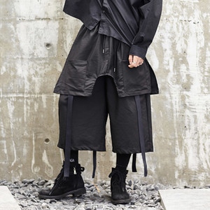 2020 Male Hip Hop Streamers Loose Legged Pants Split with Handle Independent Culottes -new 1v3d