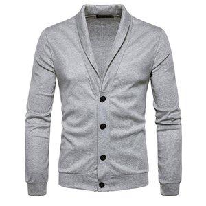 الرجال Sweatercoat صوفية البلوز البلوزات كلاسيكي بيج بويز تريكو كم طويل الرقبة V شال الياقة زر وصول جديد 0605