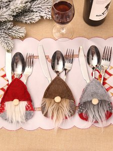 Swedish Santa Gnome Tableware Bag Fork Knife Cutlery Holder Silverware Bag Christmas Party Table Dinner Decor JK2011XB
