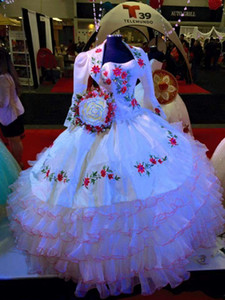 Princess Bateau Shaped Cut Out Strapless Tiered Organza Skirt With Embroidery Bodice and Peplum White Quinceanera Dress Gown Macthing Bolero