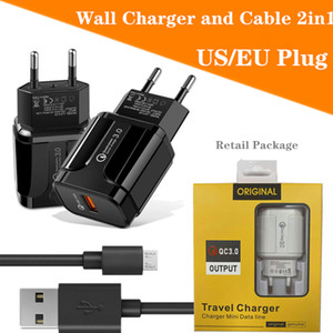 Wall Charger and cable Set 2IN1 QC3.0 USB Fast EU US Plug Travel Charger Power Adapter Accessories Micro typec USB Cable With Retail Package