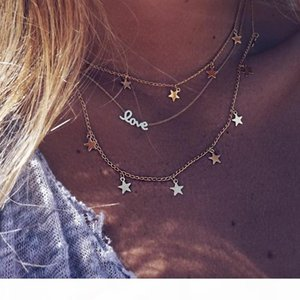 Boho Multi Layer Love Letter Star Hollow Pendants For Women Long Chains Necklace Alloy Fashion Collares Love Jewellery