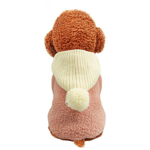 dog cat autumn winter plus velvet teddy bear clothes lamb fluffy wool cap vest wearing a hat wool clothing hat vest