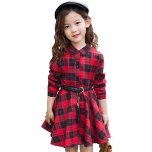 Vestido de la camisa de la camisa de la moda de la muchacha para las niñas vestido de fiesta de los niños de un solo pecho con las fajas de la ropa del otoño de Inglaterra para las niñas
