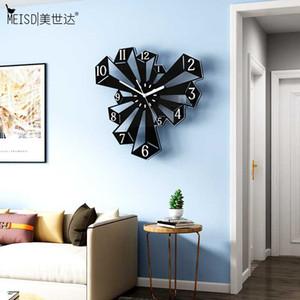 MEISD diseño moderno Reloj grande creativo reloj de pared del arte Draw cuarzo silencioso Negro relojes que cuelgan del Reloj Decoración envío