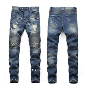 the United States men's fashion nostalgic sprinkle monkey disturbing holes American flag cloth zipper locomotive jeans