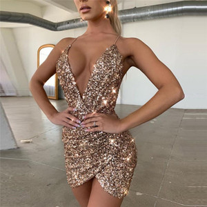 Sexy V-Neck Sequin Glitter Women Dress Female Backless Sleeveless Bodycon Mini Dresses Evening Party Fashion Club Wrap Vestido