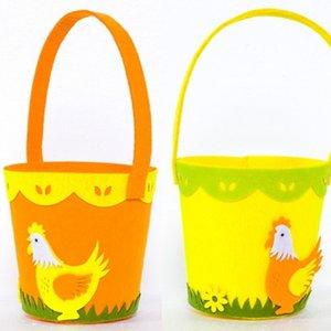 Happy Easter Cock Printed Basket Colorful Egg Cartoon Non-woven Tote Bag Designs New Year Gifts Egg Candies Barrel Bucket Handbag G12003