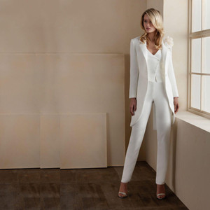 White Three Pieces Mother of the Bride Suits V Neck Long Sleeve Jacket Ankle Length Pants Wedding Guest Formal Outfit