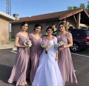 Chiffon Bridesmaid Dresses V Neckline Summer Floor Length Garden Countryside Wedding Party Maid of Honor Gowns Custom Made L64