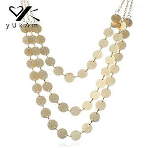 Yukam ethnique Boho Boho Boho Coin Pendentif Colliers Pull Chaîne Femmes Collier Collier MultiLayer Simple Coin Disc Collier1