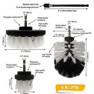 4pcs / set Puissance Puissance Puissance Pinceau Clean Brosse Perceuse électrique Kit avec extension pour la voiture de nettoyage, siège, tapis, UP WMTQJQ