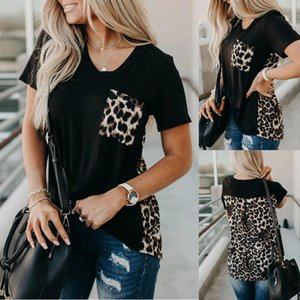 Hals Casual Trees T Shirts mit Pocket Womens Designer Tshirts Mode Leopard Print Tops Kurzarm V