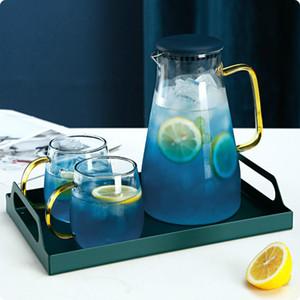 Blue Gradient high borosilicate explosion-proof Glass Pot 1.5L Large capacity Summer Cold Water Jar Lemon Teapot Home Tea set