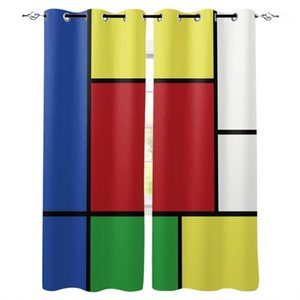 Abstract Geometric Squares Colored Window Curtains for Living Room Decorative Items Living Household Goods1