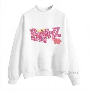 love BRATZ Pink lips print jumper women clothes 2021 vogue graphic hoodies women harajuku sudadera mujer long sleeved tracksuit