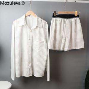 Mozuleva Women's Summer Two-piece Home Suit for Spring   Autumn Thin Long-sleeved Cotton Pants Pajamas Women Autumn Cotton Suit 201113
