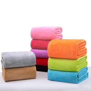 50x70cm   70x100cm Soft Flannel Plain Bedspread Blanket Throws Fleece Blanket Manta For Sofa Bed Car Office flannel