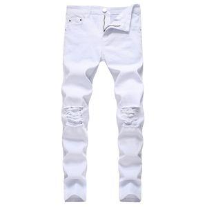 Gottlikeu weiße Männer zerrissene Kegel-Bein-Jeans verzweifelte Knielöcher Slim Fit Denim Hosen Jeans gießen Hommes