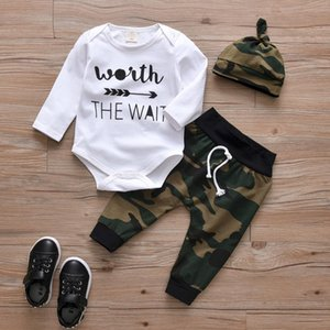 Newborn Baby Boys Girls Clothes Toddler 3Pcs Set Fashion Letter Long Sleeve Romper+Camouflage Pants+Hat Infant Clothing Outfits Q0109