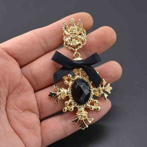 Wholesale Retro 14K Gold Brooch Pins Black Gemstone Broches Bowknot Corsage For Women Suit Brooch Accessories Jewelry