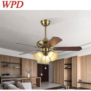 WPD Modern LED Ceiling Fan Light With Remote Control Wooden Fan Blade 220V 110V For Home Dining Room Bedroom Restaurant