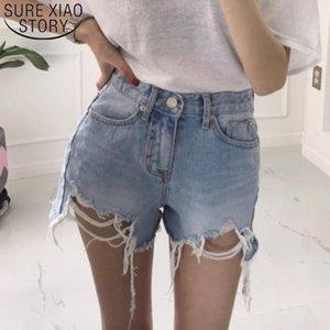 2020 Fashion Summer Women Shorts Solid Sexy Plus Size Lady Shorts High Waist Washed Hole Brushed Denim Hot Pants 8751 50