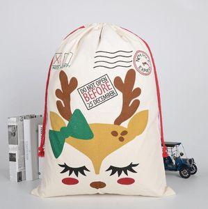 Weihnachtsgeschenk-Taschen Baumwollsegeltuch Candy Bag Weihnachtsmann Deer Säcke Leinentragetasche Weihnachten-Kind-Geschenk-Speicher-Beutel-Dekoration KKB2648