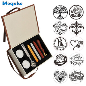 Mogoko Vintage Sealing Wax Stamp With Seal Wax Sticks without Wicks Spoon Candles Kit Tree of Life Weeding Heart Rose With Love Q1114
