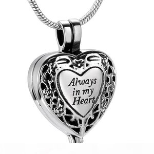 "IJD9958 Stainless Steel Cremation Pendant""Always in My Heart"" for Ashes Urn Perfume Locket Memorial Keepsake Necklace Jewelry"