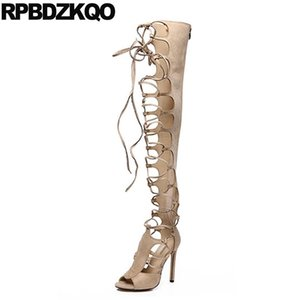 Gladiator Peep Toe Thigh High Boots For Plus Size Women Dance Over The Knee Stiletto Exotic Dancer Fetish Sandals Big Shoes Heel