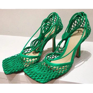 Runway Net Mesh Thin High Heel Sandals Women Square Toe Ankle Strappy Gladiator Sandalias Summer Sexy Party Nightclub Shoes 2021