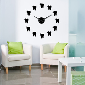 Dentes Mirros Stickers design moderno 3D Tooth estilo DIY Grande Relógio de parede Wall Decor Dental Office Silencioso não Ticking Big Clock