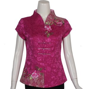Spring Summer Chinese Traditional Cotton Embroider Blouse Top Women's Shirt Flower Size M L XL XXL XXXL 4XL 080301